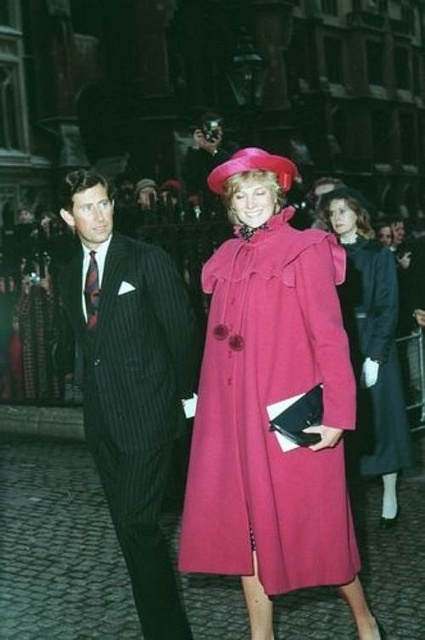 February 28, 1982: Princess Diana at Westmister Abby Centenary of Royal College of Music.