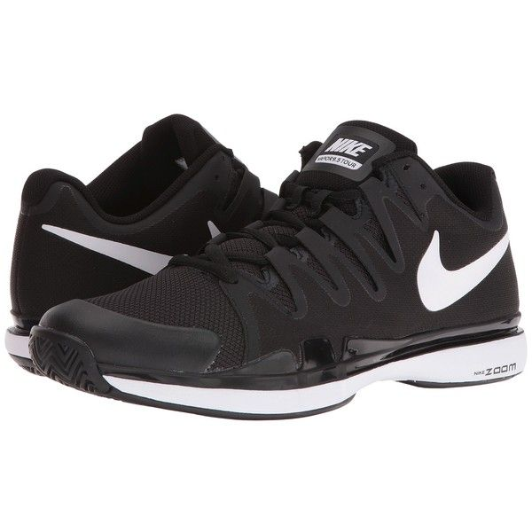 Nike Zoom Vapor 9.5 Tour (Black/Anthracite/White) Men's Tennis Shoes ($140) ❤ liked on Polyvore featuring men's fashion, men's shoes, mens black tennis shoes, mens tennis shoes, mens black shoes, mens shoes and mens white shoes