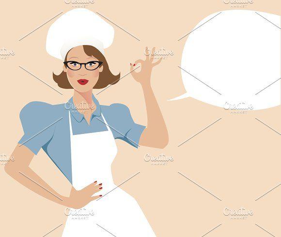 Chef woman and empty speech balloon by La Inspiratriz on @creativemarket