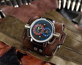 """Items similar to Men's wrist watch leather bracelet """"Hunter-Fisher"""" - SALE - Worldwide Shipping -Rocker Biker Steampunk watches on Etsy"""
