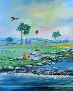Winnie the Pooh - Summer in The 100 Acre Wood - Harrison Ellenshaw - World-Wide-Art.com - $600.00 #Disney #Ellenshaw