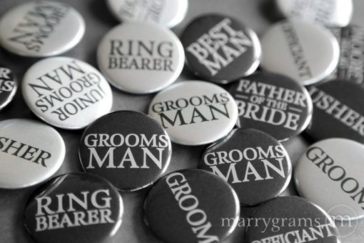 Wedding Party Buttons for Bachelor Party, Groomsmen, Best Man, Groom, Rehearsal Dinner, Suit Up, Guys Pins for Wedding