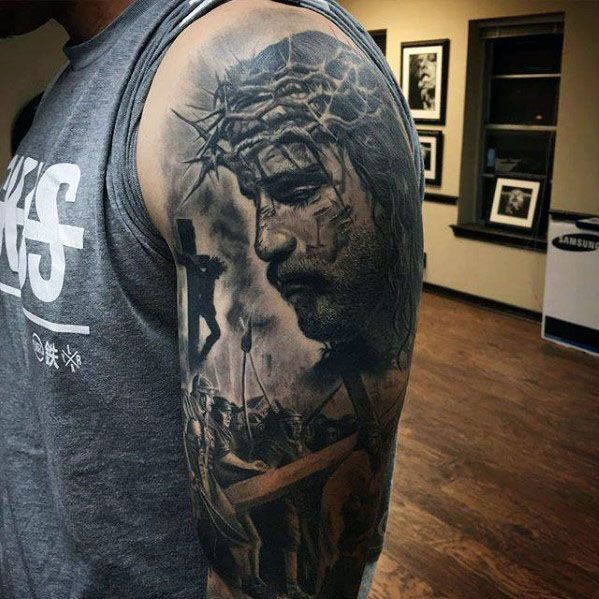 Amazing Mens 3d Realistic Jesus Portrait With Cross Half Sleeve Tattoos