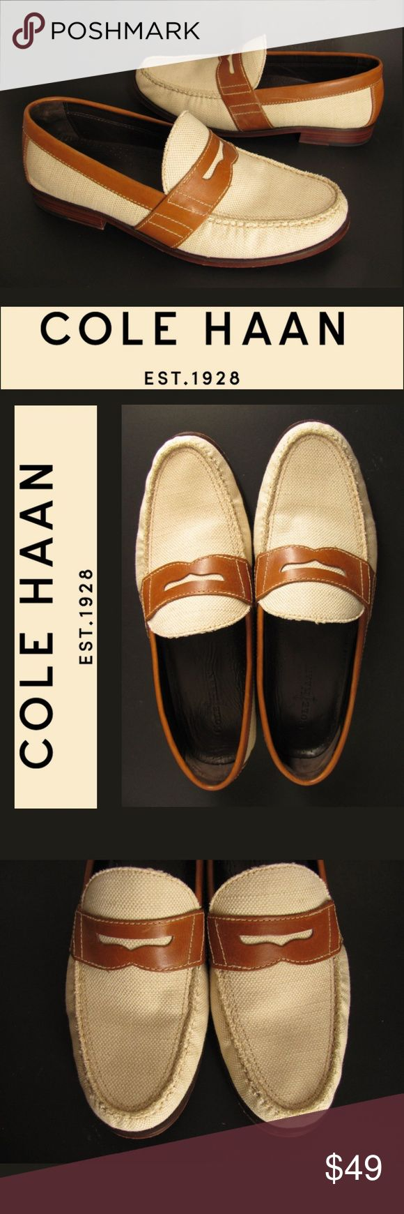 "Cole Haan Penny Loafers Mens 12 Beige Canvas Brown Be a sharp dressed man in these two tone penny loafers by Cole Haan. These handsome shoes feature beige canvas uppers with saddle brown leather trim. They have non slip heels and sole dots. They offer slip on Nike Air comfort and stylish looks for the modern man. Mens size 12 M. Excellent, Very Gently Pre-Loved condition! 11 1/2"" from the toe to the heel 3 1/2"" across the foot ball 1"" heel height 180311-214-Mns Brn 4 Cole Haan Shoes Loafers…"