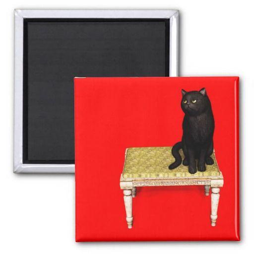 Black Cat on footstool Refrigerator Magnets