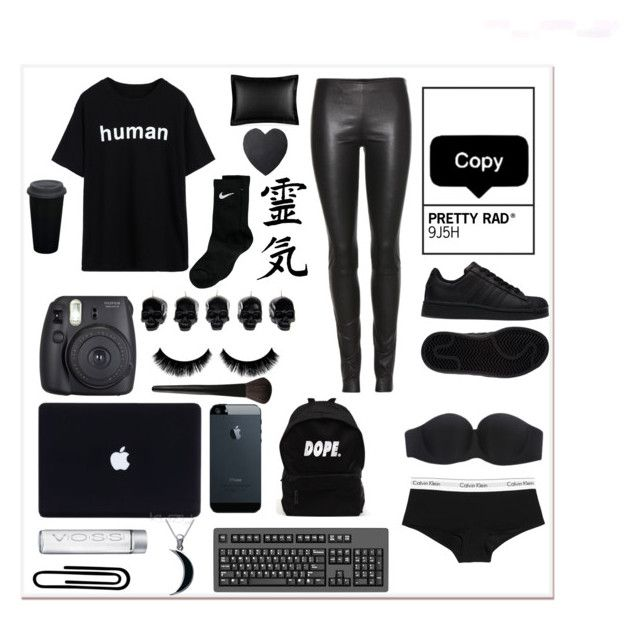 """black baby"" by estherlillymae ❤ liked on Polyvore featuring adidas, D.L. & Co., Calvin Klein Underwear, Fuji, Ralph Lauren, NIKE, Carolina Glamour Collection, INIKA and The Row"