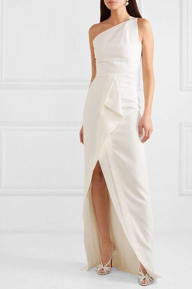 aa0c18dee15 Roland Mouret | Lilyvick one-shoulder grosgrain-trimmed draped crepe gown |  NET-A-PORTER.COM