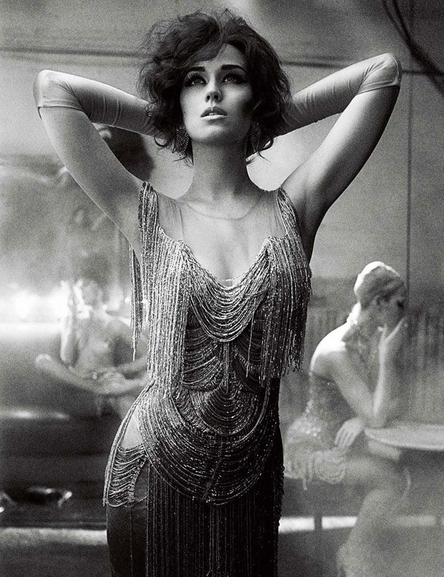 Interview magazine, beaded dress, vintage, 1920s, womens fashion, black and white photography