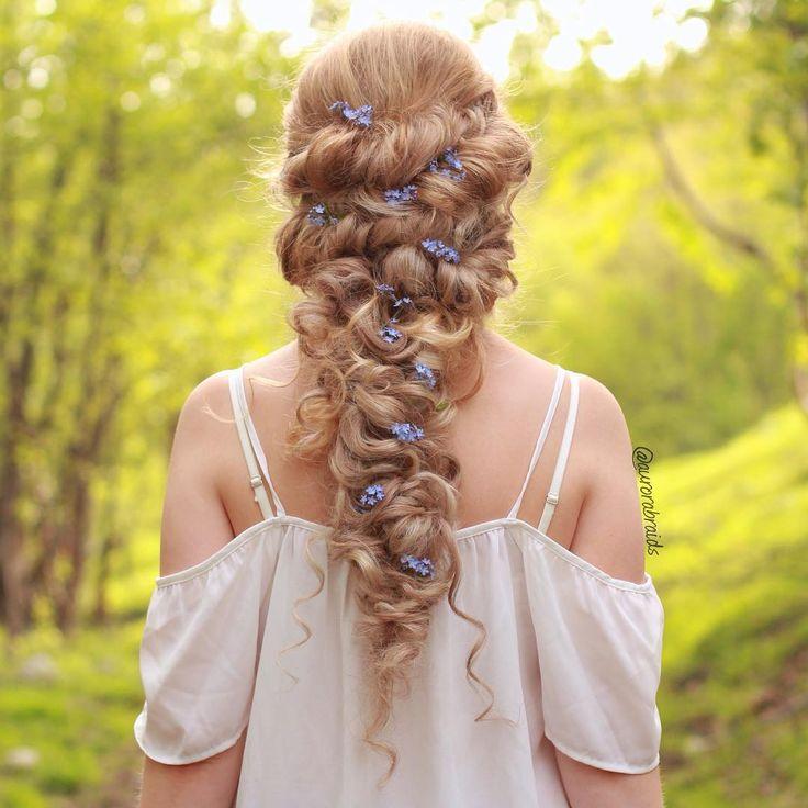 Flowers For Wedding Hairstyles: Curly Bridal Braid