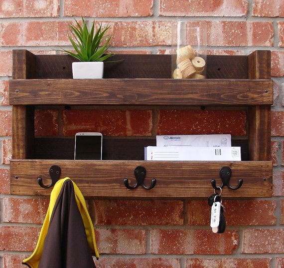 rustic entryway 3 hanger hook coat rack with shelf and mail phone key organizer on etsy