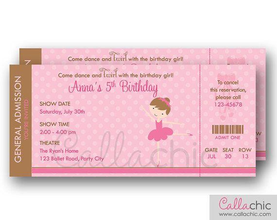 Ballet Ticket Invitation PRINTABLE - Ballerina Birthday Invite for Girls (Pink Brown)