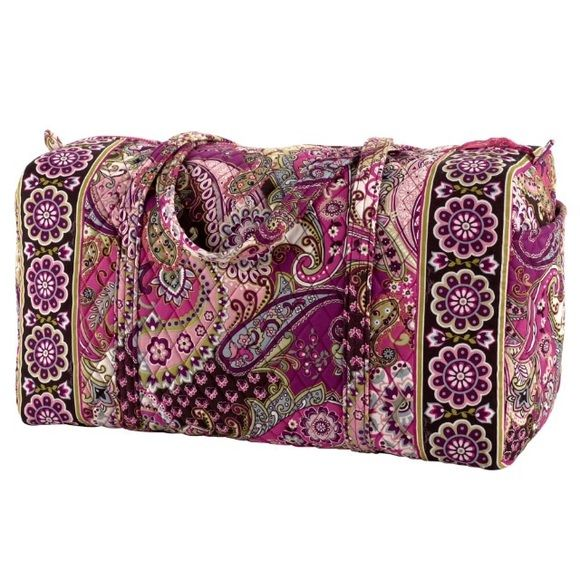"""Vera Bradley Large Duffel Travel Bag This bag is perfect for traveling. It features a roomy central compartment and is carry-on compliant. Handy outside pocket. 'Very Berry Paisley' print. 22"""" L x 11½"""" H x 11½"""" D, 15"""" strap drop. Like new. Vera Bradley Bags Travel Bags"""