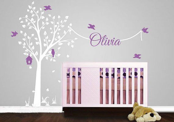 Tree Wall Stickers With Name Decal Elegant Garden Tree Nursery Wall Decor Tree Wall Sticker With Name For Boys And Girls Rooms #Affiliate