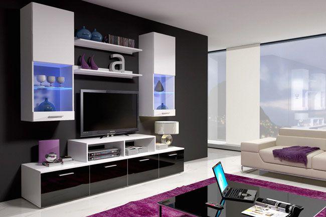 Mueble de salón de diseño modelo Sandra. Visita http://www.mueblesbonitos.com/salon/muebles-salon/mueble-de-salon-sandra-negro-y-blanco.html para conocer sus materiales, acabados y dimensiones.