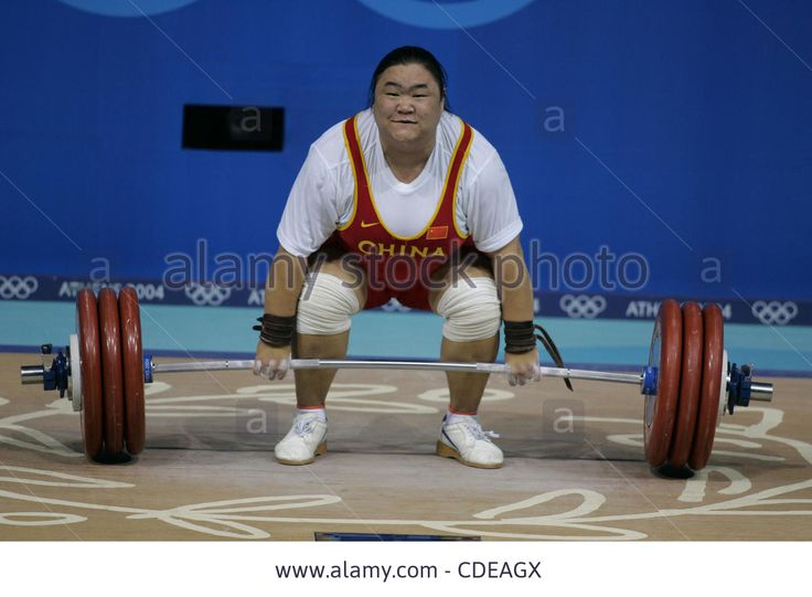 Download this stock image: Aug. 22, 2004 - Athens, Greece - 2004 Olympics, Weightlifting Gonghong Tang (CHN) wins the Silver Medal in the women's weightlifting +75kg event at the 2004 olympics. August 21, 2004  NO GERMAN SALES ©Christina Pahnke/NewSport  (Credit Image: © Christina Pahnke/NewSport/Z - CDEAGX from Alamy's library of millions of high resolution stock photos, illustrations and vectors.