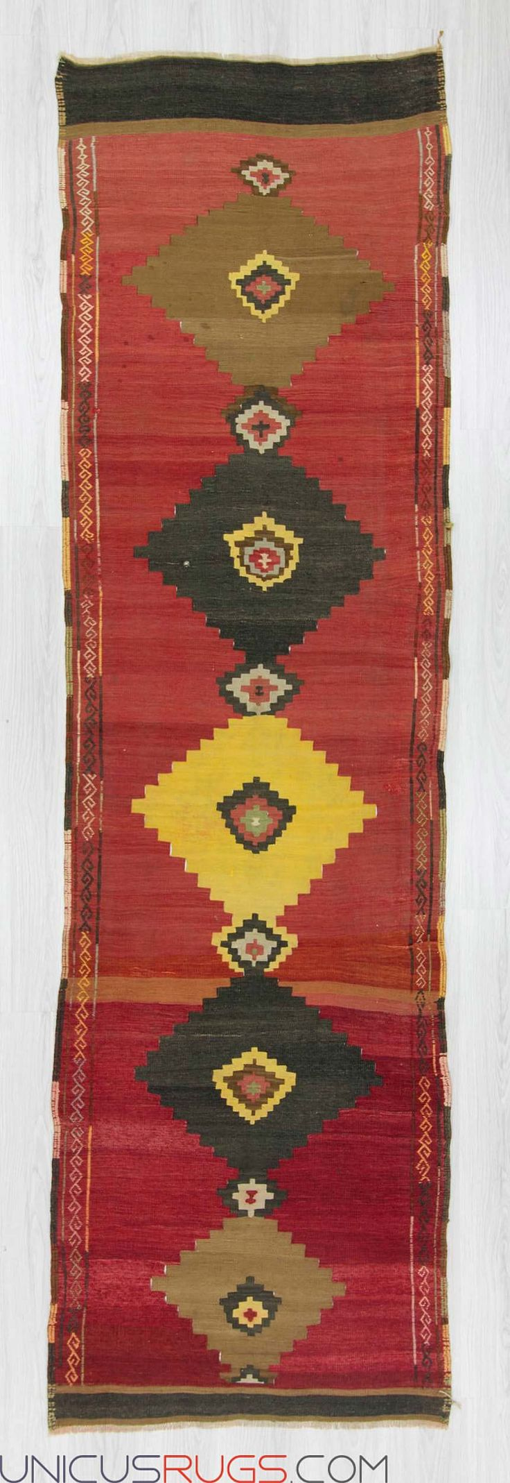 "Handwoven vintage kilim runner from Malatya region of Turkey. In very good condition. Approximately 50-60 years old. Width: 3' 1"" - Length: 11' 1"" RUNNERS"