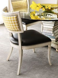 loving this yellow hounds tooth and black leather chair