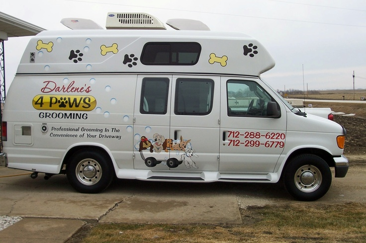I own a mobile grooming van. I have been grooming for 6 years , 4yrs on my own. I absolutely love my job. I travel to my clients house, my van is all set up for grooming, i bought my van from Wagntails in Ind. I wish I would have found this job years ago!!! I have around 300 clients, 85% are on a schedule so I have a constant turnover. Its great for the elderly, working people love it, heres my dog check will be? They come home from work their dog is done!