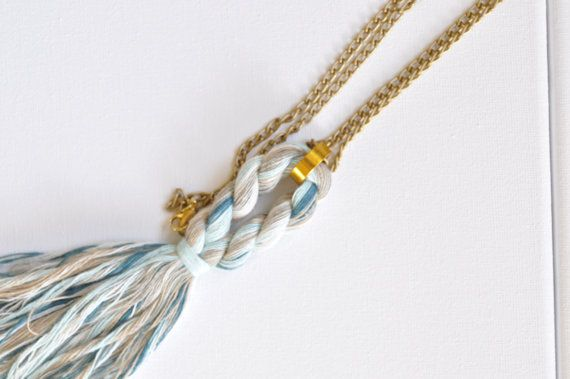 Check out this item in my Etsy shop https://www.etsy.com/listing/259998975/rope-tassel-aluminium-gold-chain