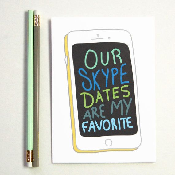 Skype Date Greeting Card Boyfriend Gift Long by BySeaAndSky