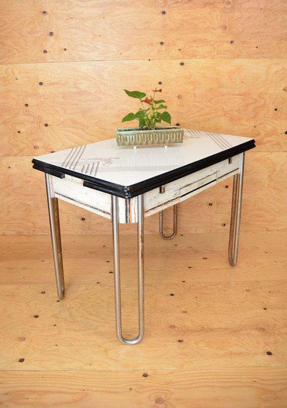 Vintage 40 S Enamel Top Art Deco Kitchen Table In By