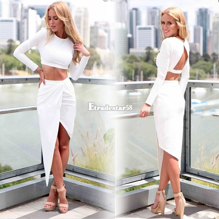 Womens Bodycon Slim Backless Bandage Two Piece Crop Top and Skirt Dress Set #Unbranded #TopsSkirtSet #Clubwear