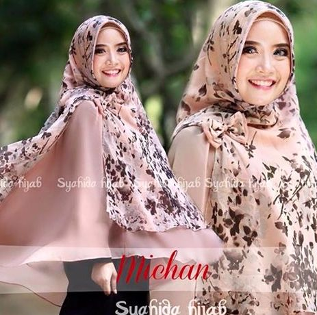 so cute hijab chest cover one piece chiffon pink floral bow