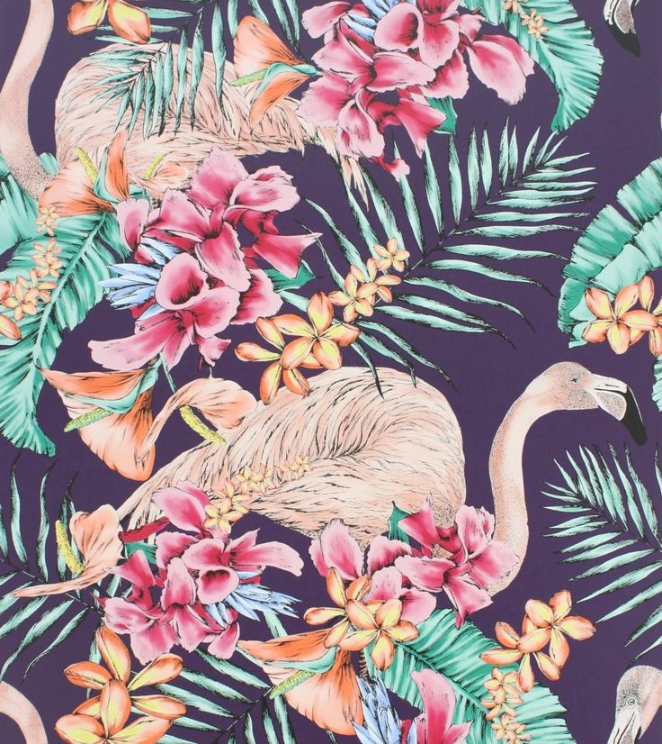 Flamingo Club Purple, Cerise, Coral & Jade wallpaper by Matthew Williamson