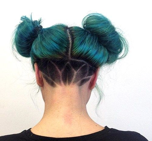 two buns messy funky hairstyle with nape undercut