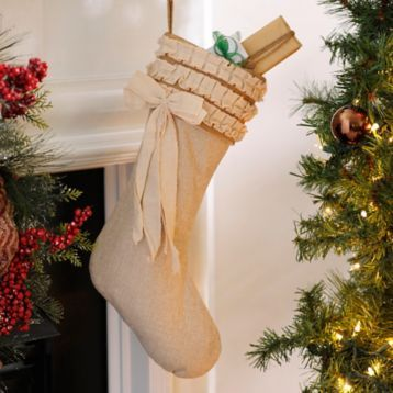 Add some style to your mantle with our Burlap Ruffle Christmas Stockings! #Kirklands #holidaydecor #KirklandsHoliday