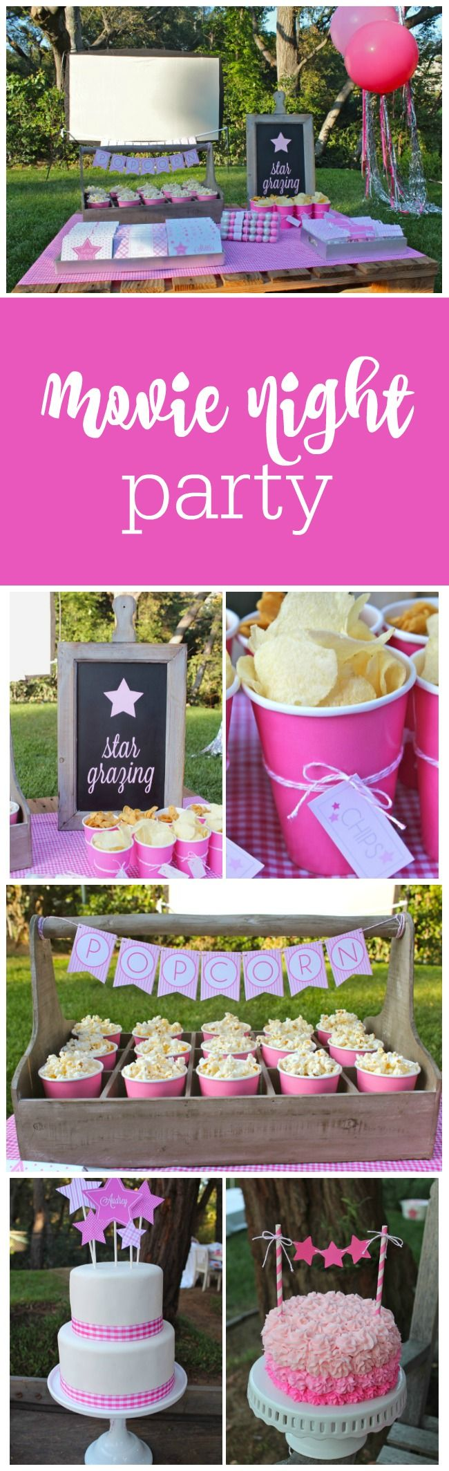 """Twinkle lights. Jenny Raulli of Bloom Designs had me at the twinkle lights. Jenny styled this """"under the stars"""" movie party for her daughter Audrey's 11th birthday. And of course, as a printables designer, Jenny created all the printables for the party. (And the party accessories all came from her shop.) Dining Table Jenny had … … Continue reading →"""