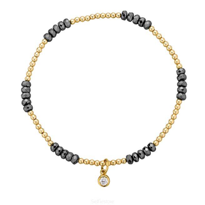 Bransoletka / block / hematyt / złocenie - Selfie Jewellery - Sklep Internetowy