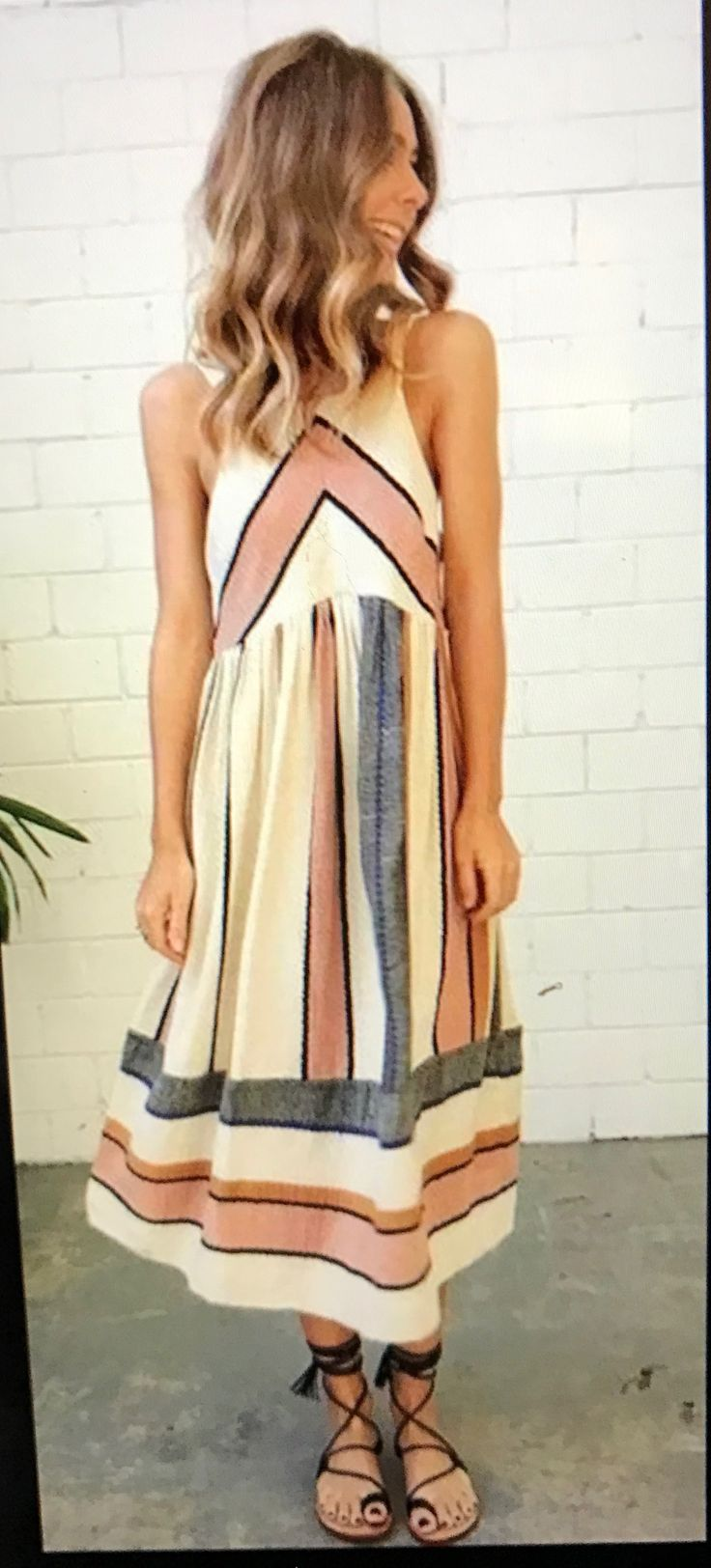 Stitch Fix Fashion 2017! Ask your stylist for something like this in your next fix, delivered right to your door! #sponsored #StitchFix Boho casual cream, neutral striped dress