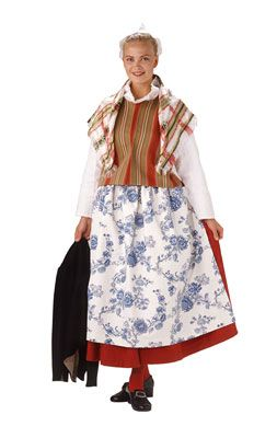 Traditional Finnish folk costume, a woman´s dress representing the region of Sysmä and Luhanka.