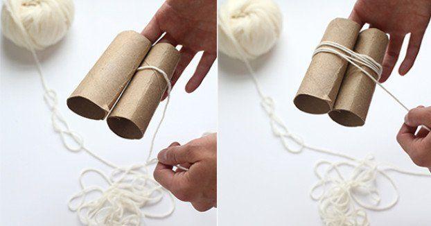 Sie wickelt Wolle um 2 Rollen Klopapier. Was daraus wird, braucht einfach jedes Zuhause.
