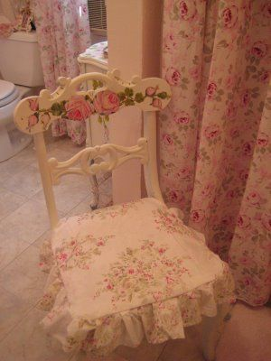 Simply Shabby Chic~looks a little like my bathroom. I have the same prints on my shower curtain and vanity stool.
