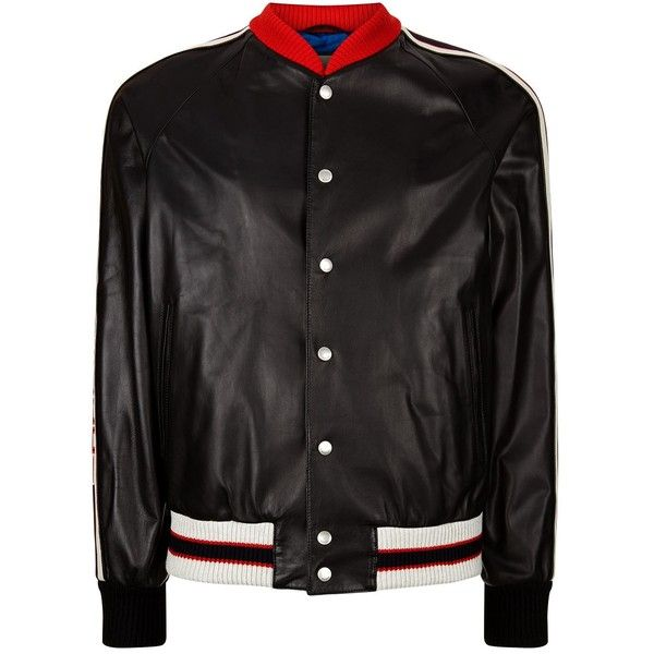 Gucci Hollywood Leather Bomber Jacket ($4,385) ❤ liked on Polyvore featuring men's fashion, men's clothing, men's outerwear, men's jackets, mens leather jackets, gucci mens jacket, mens leather flight jacket, mens real leather jackets and mens leather sleeve jacket