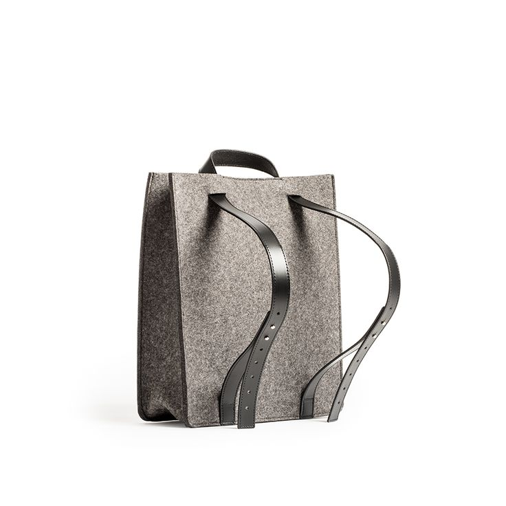 Backpack Tote | A unique wool felt tote with adjustable belting leather straps converts from tote to backpack when an extra hand is needed.