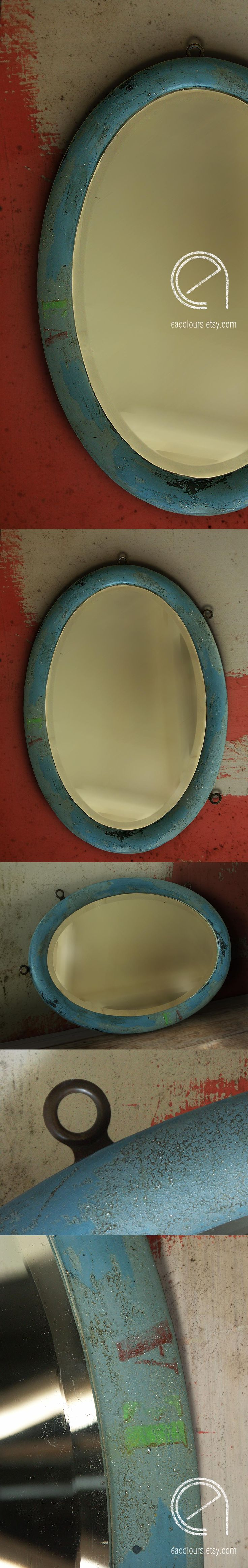 Vintage blue oval mirror. Chippy distressed milk paint ...