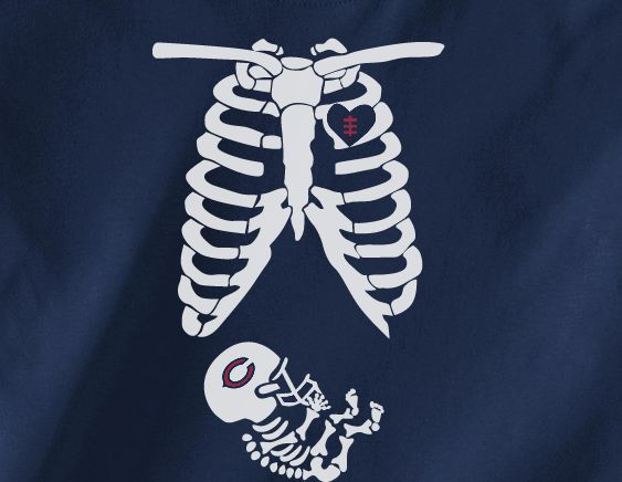 Navy Custom Skeleton Baby Pregnant Maternity Wife GF Chicago Bears Fan Tee Tshirt T-Shirt