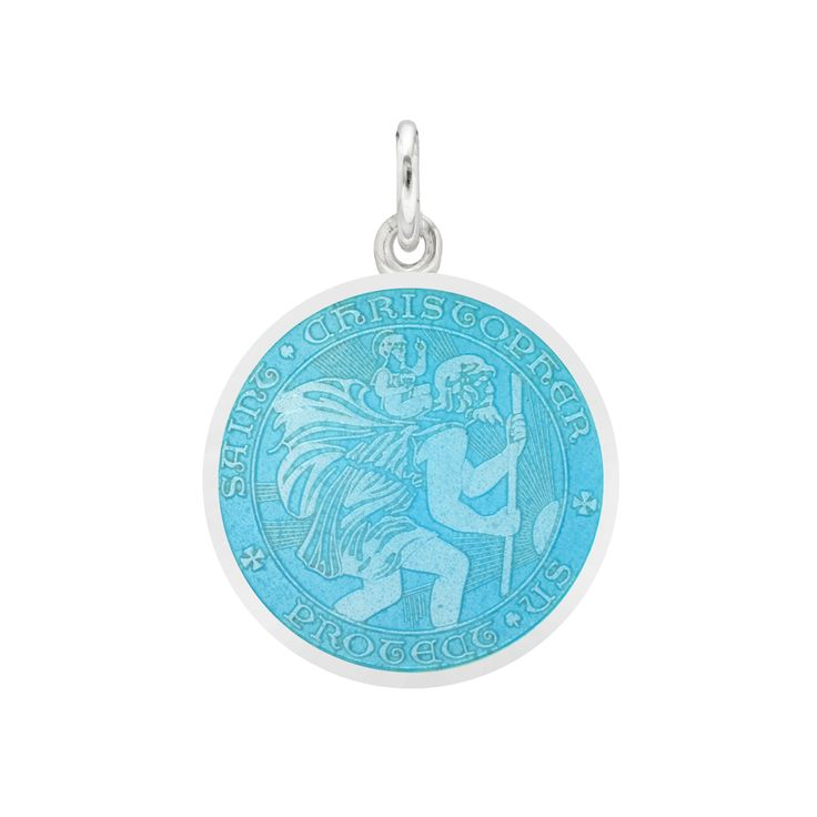 Betteridge Small Silver St. Christopher Medal with Turquoise Enamel