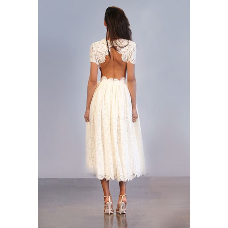 Short Sleeve French Guipure Tea Length Lace Dress with Full Skirt & Open Cut-Out Back / Houghton - Prince [back] <3
