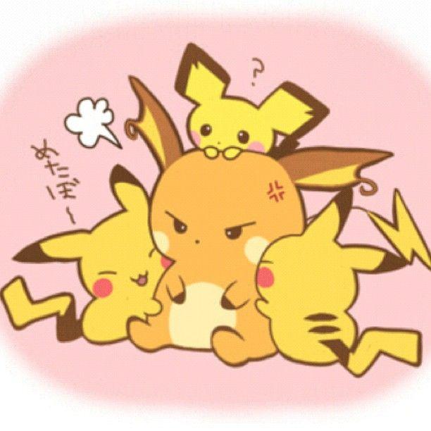 (๑・㉨・๑) ANIME ART Raichu and Pichu | pokemon | Pinterest ...
