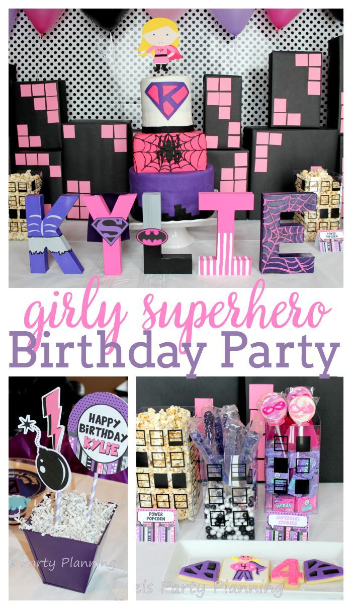 If you have a little girl with big dreams of being a Superhero when she grows up, then this Girly Superhero Party in pink, purple and black is for you. | The Love Nerds
