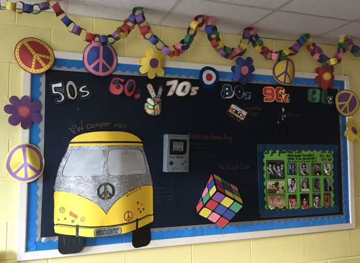 Through the decades primary school display made by Charley