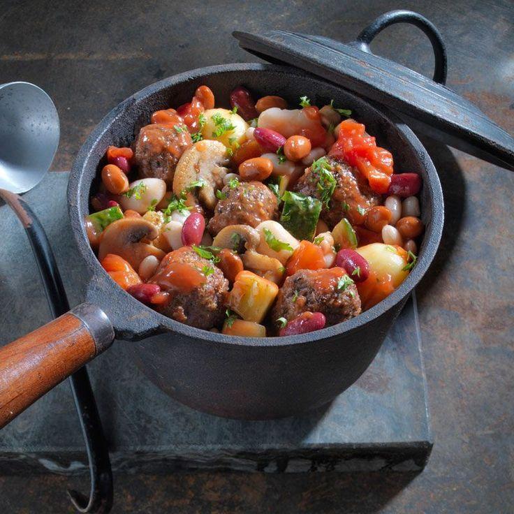Heerlijk gezond recept, deze stoofpot met bonen en krieltjes.