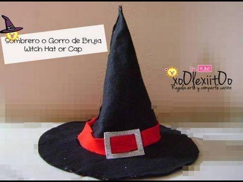 ▶ ❥DIY Halloween: ¿Cómo hacer el molde para el sombrero o gorro de bruja? - YouTube