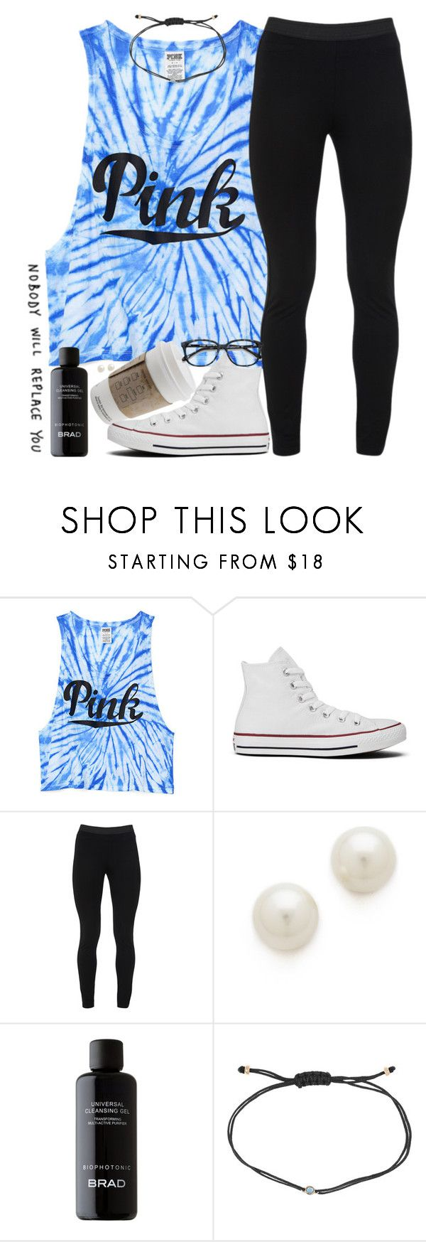 """Can't keep my earrings in because of cheer"" by southernstruttin ❤ liked on Polyvore featuring Victoria's Secret PINK, Converse, Peace of Cloth, Kenneth Jay Lane, Melissa Joy Manning and Ace"