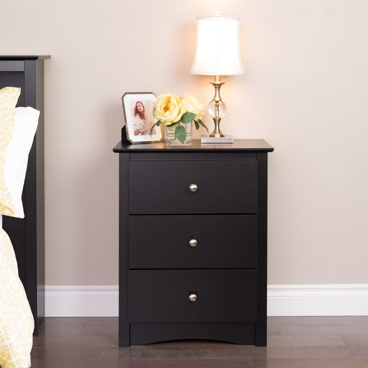 prepac broadway black 3drawer tall nightstand black wood