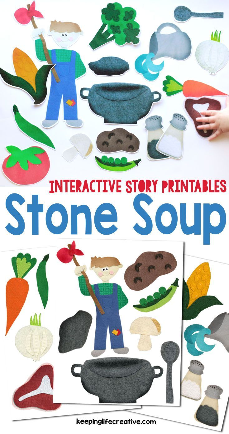 Retell the classic story of Stone Soup with interactive printables for the magnet board, flannel board, and more!